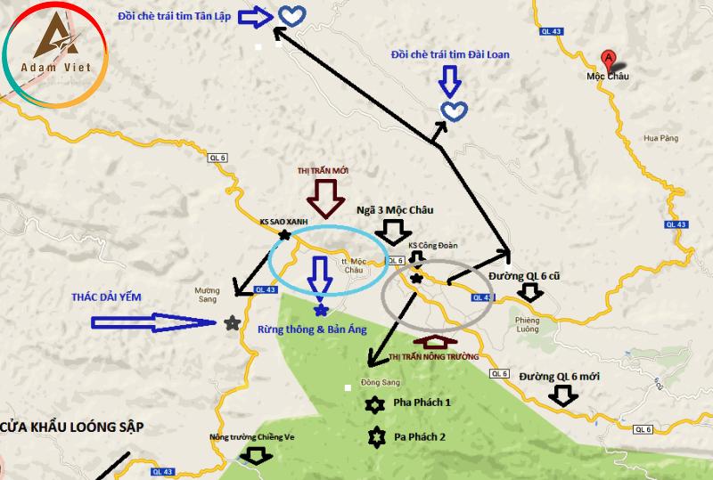 bản đồ du lịch Mộc Châu.